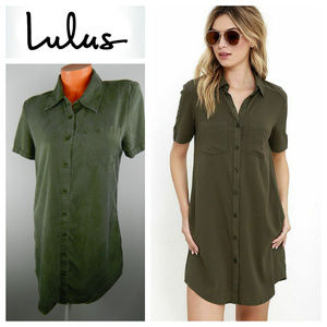 Lulu's Dresses - LULUS Oxford Comma SHIRTDRESS Mini GREEN Medium